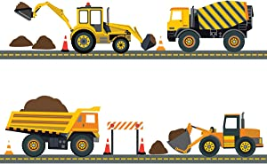 Four Construction Vehicles with 15 Feet Straight Gray Road Wall Decals (Repositionable) Peel and Stick!