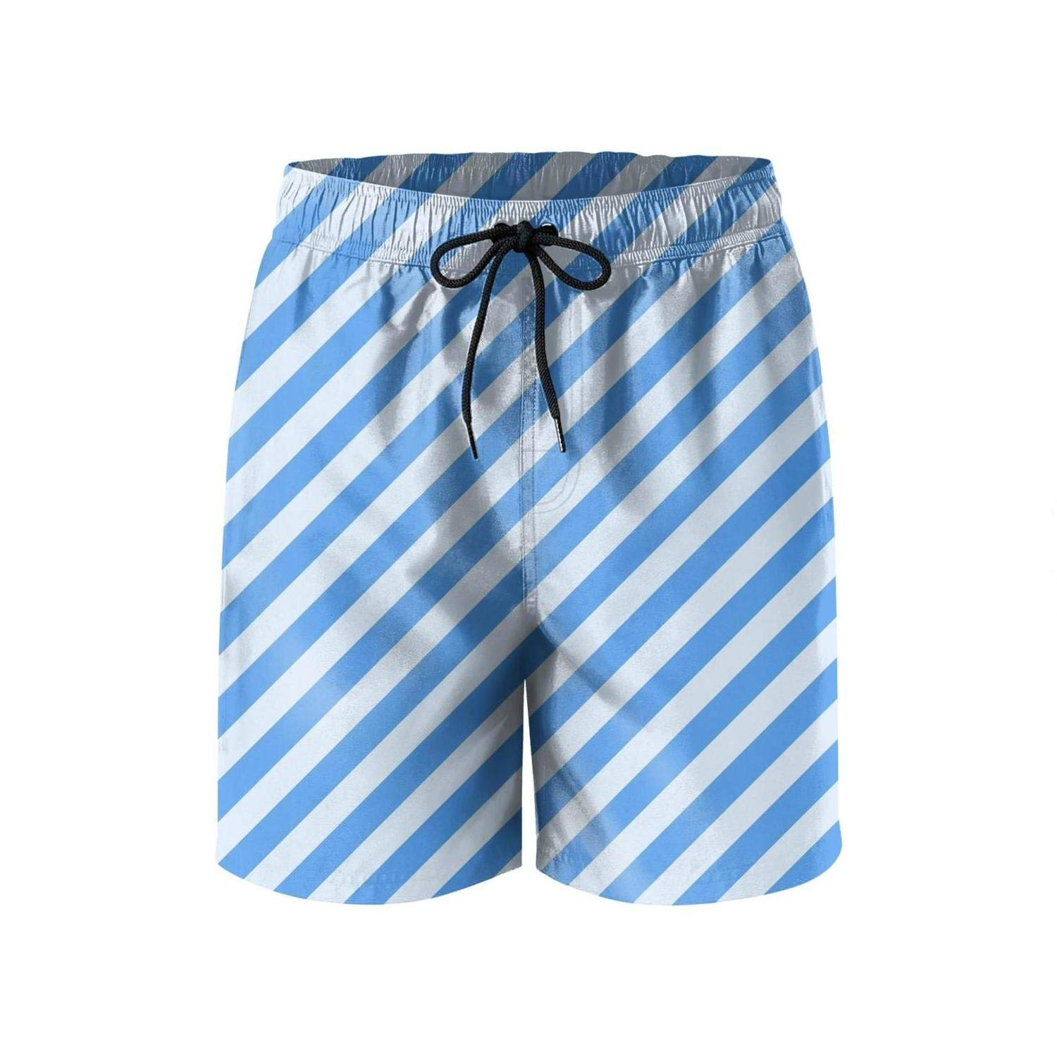 PPANFKEI Colorful Diagnal Stripes Mens Swim Trunks Quick-Dry Watershorts for Surfing