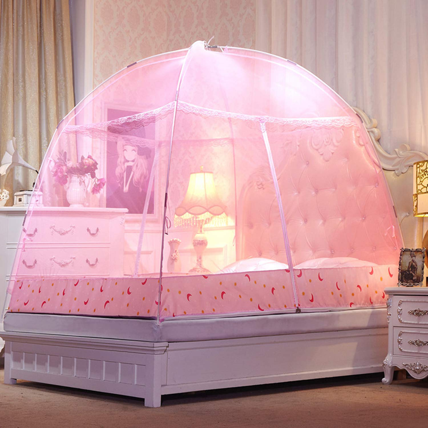 Romantic Purple Dome Mosquito Net Double Door Polyester Fabric Bed Netting Canopy Mosquito Netting Folding Netting Tent Bed,White,1.5m (5 feet) Bed by SuWuan mosquito net (Image #4)