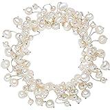 Valero Pearls Classic Collection Damen-Armband elastisch Hochwertige Süßwasser-Zuchtperlen in ca.  4-6 mm Barock weiß     19 cm   120320