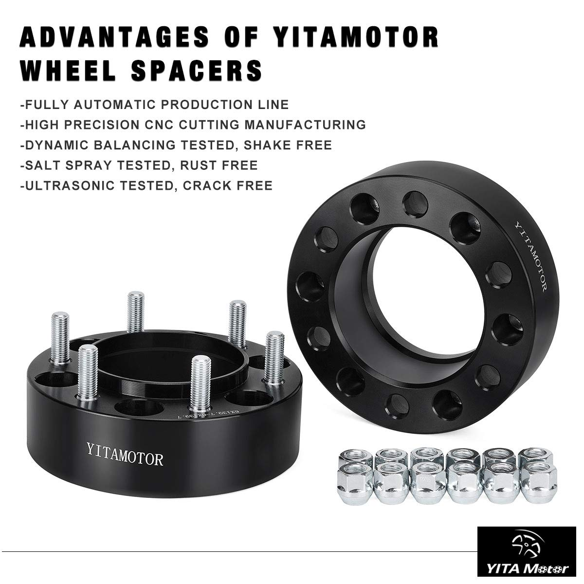 YITAMOTOR Wheel Spacers Toyota, 2nd-gen Forged Hubcentric, 2'' Wheel Adapters 6x5.5/6x139.7 Compatible for Toyota FJ Cruiser Tacoma Isuzu Lexus(12x1.5 Studs& 106mm Bore) by YITAMOTOR (Image #5)