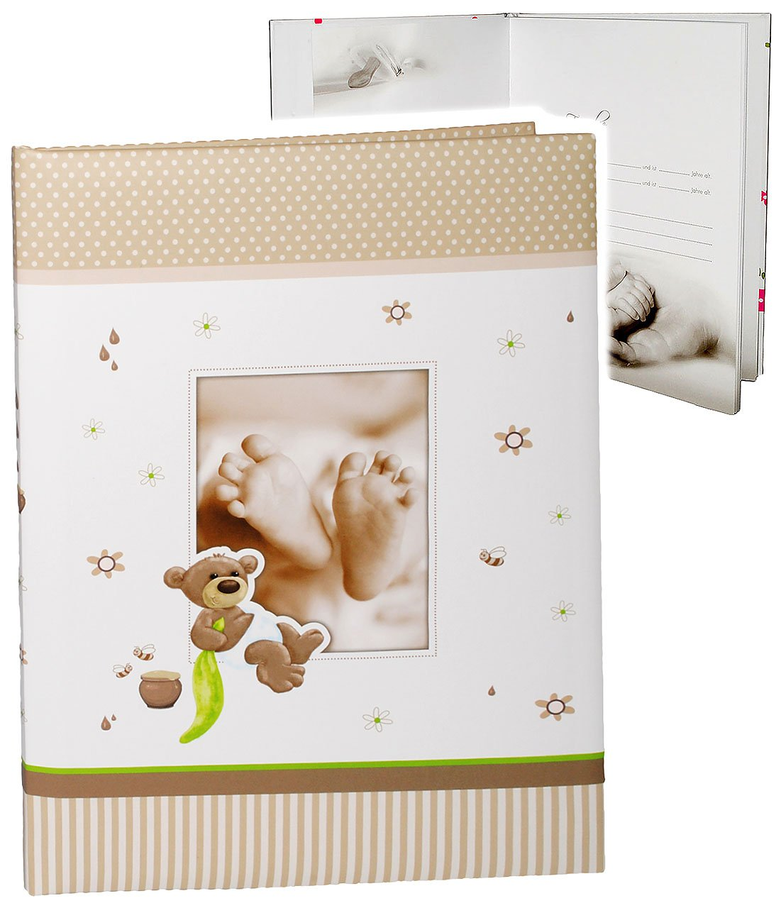 alles-meine.de GmbH Babytagebuch - Baby - süßer Teddybär & Babyfüße - incl. Name - Gebunden zum Einkleben & Eintragen - groß - Fotobuch / Fotoalbum / Babyalbum / Album - für ..
