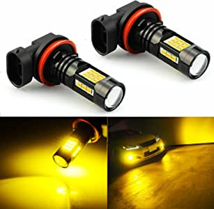 JDM ASTAR Extremely Bright PX Chips H11 H8 H16 LED Fog Light Bulbs, Golden Yellow