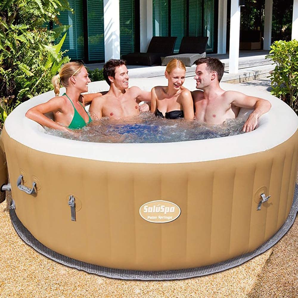 Tan Bestway SaluSpa 77 x 28 Inch 4 to 6 Person Outdoor Inflatable Portable Palm Springs AirJet Hot Tub Pool Spa with Cover
