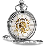 ManChDa Pocket Watch Retro Smooth Classic Mechanical Hand-Wind Pocket Watch Steampunk Roman Numerals Fob Watch for Men…