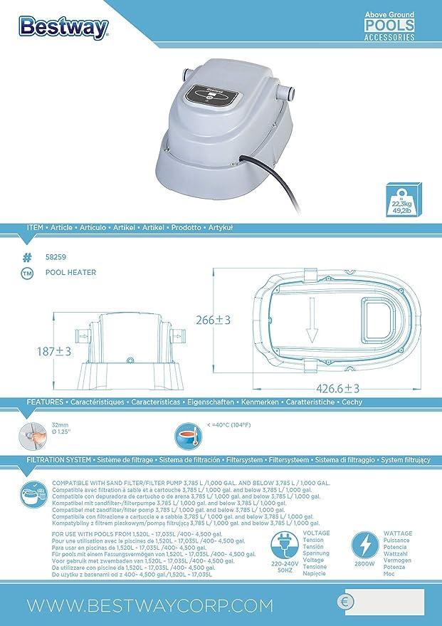 Bestway 58259 - Calentador de agua Eléctrico para Piscinas de hasta 457 cm: Amazon.es: Jardín