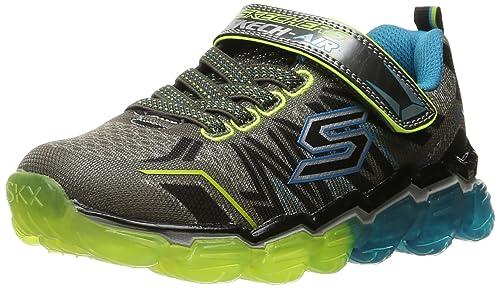 Skechers Kids Boys' Skech Air-Turbo Elite Running Shoe, Charcoal/Blue,