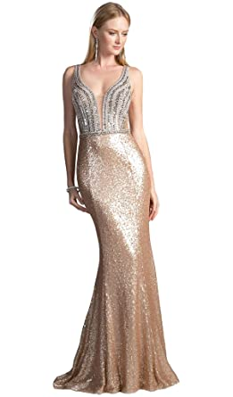 316646b2f5e0 Cinderella Divine CR810 Embellished Sheer Back Evening Dress in Silver