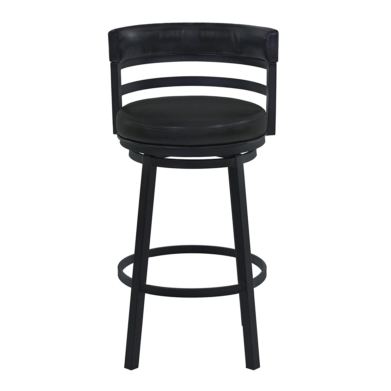 Armen Living LCMABABLBL26 Madrid 26 Counter Height Swivel Barstool in Ford Black Faux Leather and Black Metal Finish