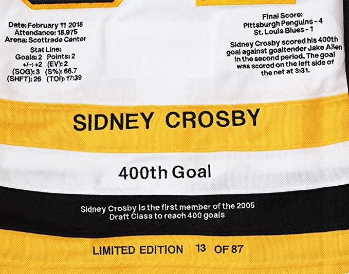 Sidney Crosby Signed Milestone Jersey Penguins Pro White Adidas 400th Goal  L E 87 at Amazon s Sports Collectibles Store d0441cb19