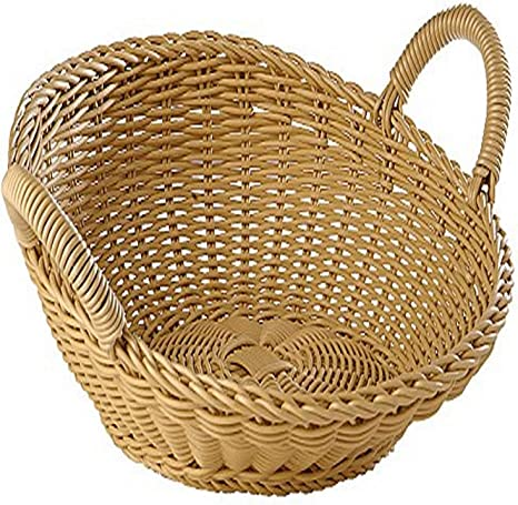 Amazon Com World Cuisine Round Polyrattan Buffet Basket With Handle Beige Kitchen Dining
