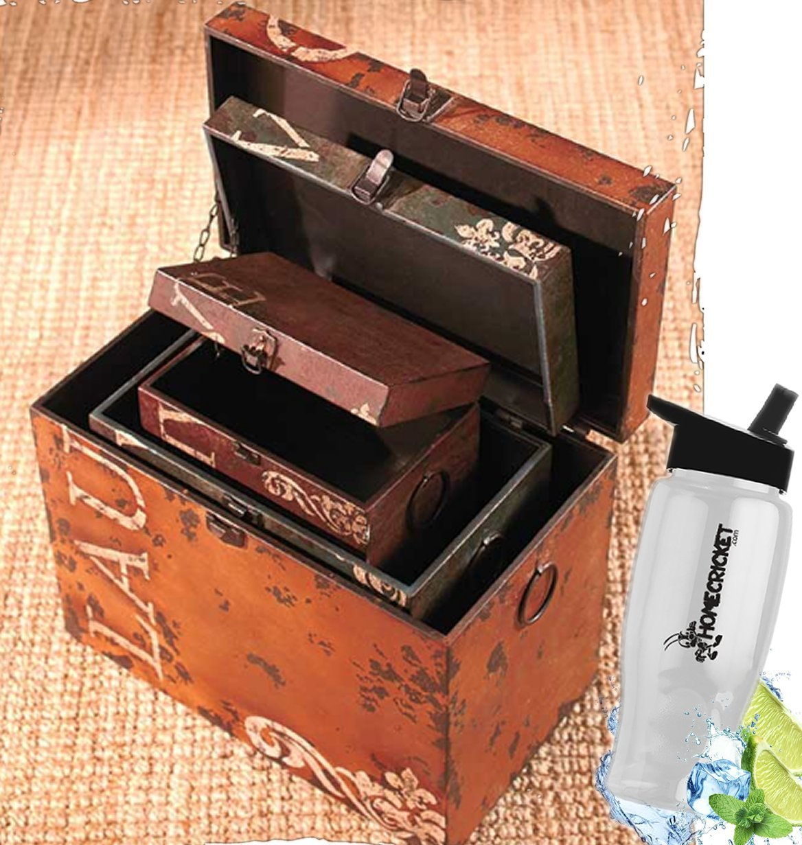 Gift Included- Distressed Vintage Storage Trunks 3 Piece Set Live Love Laugh Rustic Trunk Look & Feel + FREE Bonus Water Bottle by Homecricket