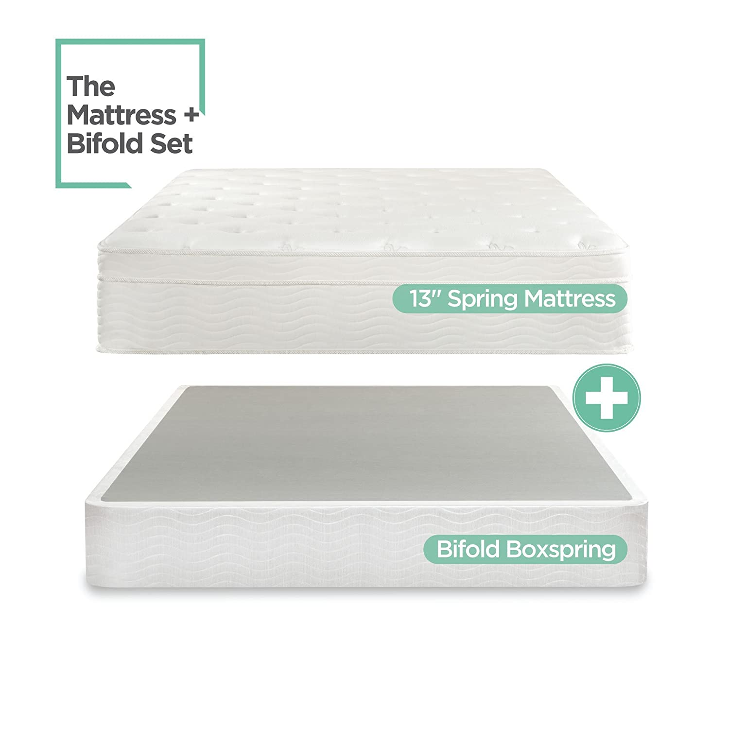 Sleep Master iCoil 13 Inch Euro Top Spring Mattress and BiFold Box Spring Set, King