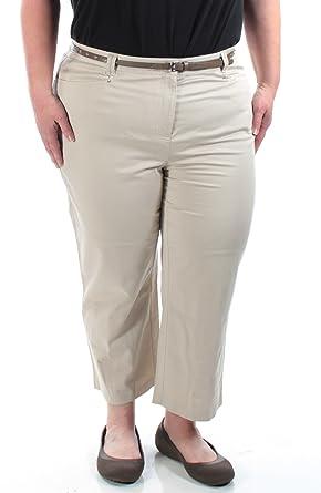 7ea15d1a650e JM Collection Womens New 1141 Khkai with Belt Capri Casual Pants 18 ...