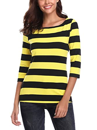 e38cfae4d9c7 FENSACE Womens 3 4 Sleeve Round Neck Casual Stripes T-Shirt at ...