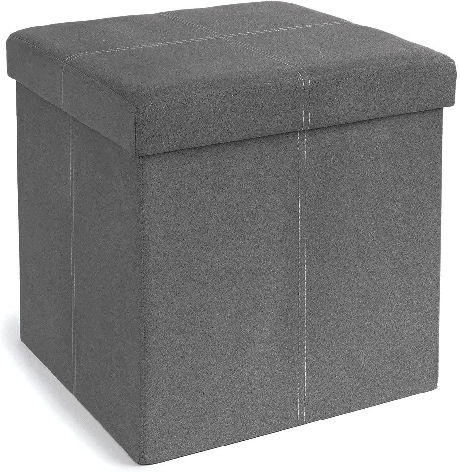 The FHE Group Foldable Storage Ottoman, 15 by 15 by 15 Inches, Grey Suede