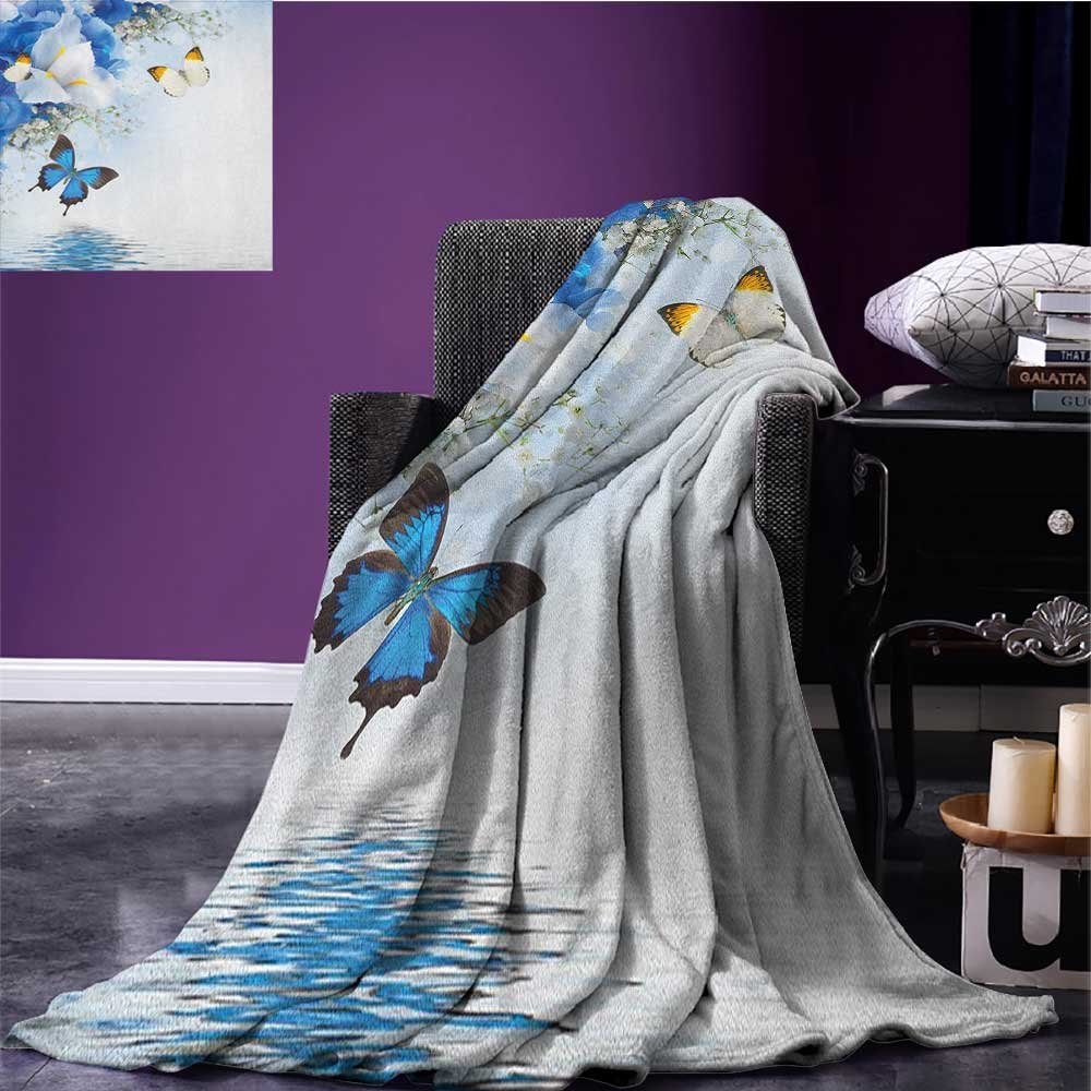 Floral picnic blanket Blue and White Wild Flowers with Monarch Butterflies Lily Therapy Zen Spa Art Prints soft throw blanket Pale Blue size:50''x60''