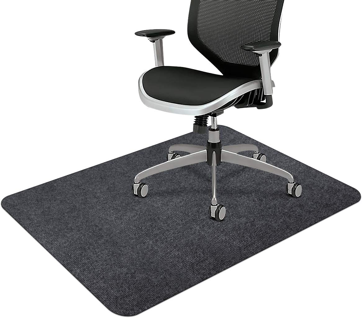 "Office Chair Mat, Upgraded Version - Office Desk Chair Mat for Hardwood Floors, 1/6"" Thick 55""x35"" Hard-Floor Protector Mat, Multi-Purpose Chair Carpet for Home (Dark Gray)"