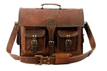 1a2b71088f Handolederco 38,1 cm Vintage Cuir Messenger Cuir Souple Mallette Sacoche en Cuir  pour Ordinateur