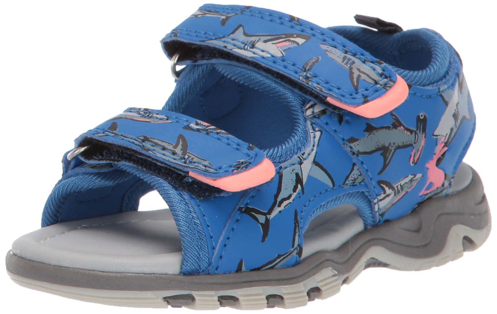 Joules Boys' Rockwell Sport Sandal, Blue Sharks, 12 M US Little Kid