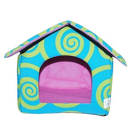 LOVE PET - Caseta de Tela Plegable/ Cuna Perro/ Habitación Portátil/ Nido Mascota para Perros, Gatos con forma de casa (motivo espirales azul, S)