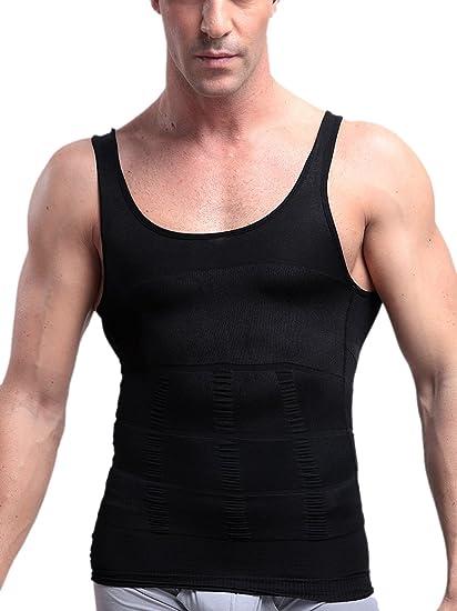 31d6cfda07 Men s Elastic Body Shaper Vest Abdomen Lumbar Slimming Shirt Lose Weight  Lingerie Size X-Large