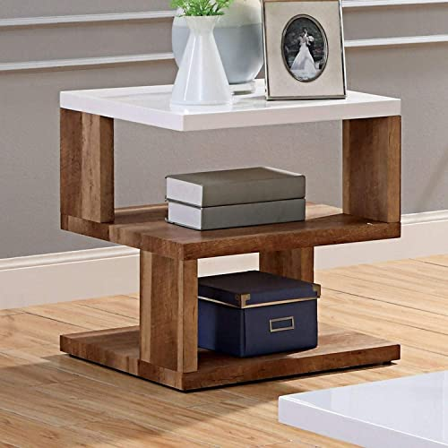 Contemporary Natural Tone End Table Foa Brown White Modern Transitional Square Veneer Wood Finish Shelf Solid