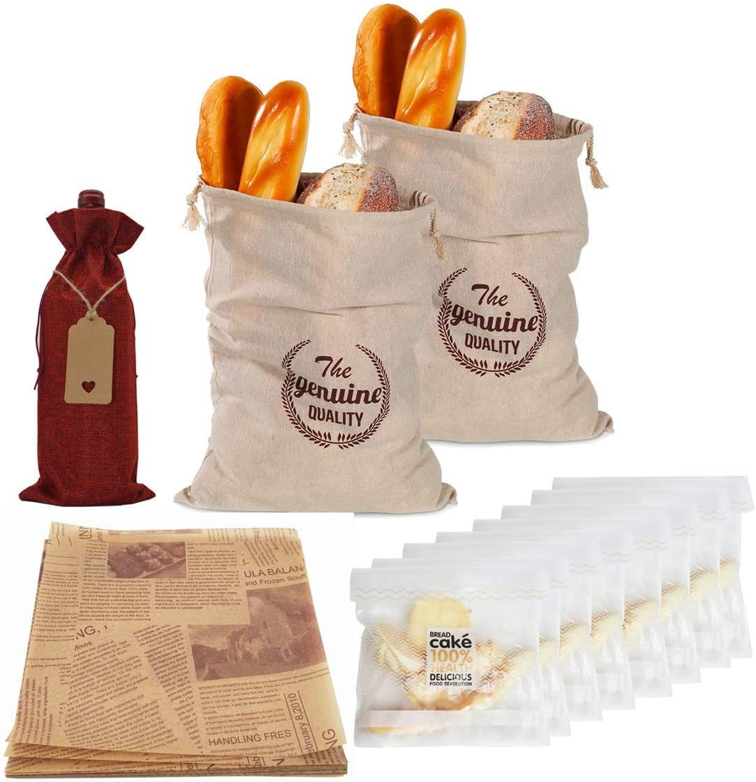 HonL-Fam Linen Bread Bags for Homemade Bread Reusable Large Food Storage Bread Bags to Keep Bread Fresh Unbleached with Drawstring,Gift Wine Bag and Parchment,2 Pack 11.8 X 15.7 inch,Gifts for Bakers