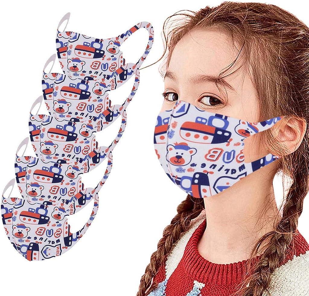 Yanhoo 5 Stück Kinder Mundschutz 3d Cartoon Druck Maske Atmungsaktive Stoffmaske Waschbar Mund Nasenschutz Bandana Halstuch Mund Und Mundschutz Für Jungen Mädchen A 5pcs Bekleidung