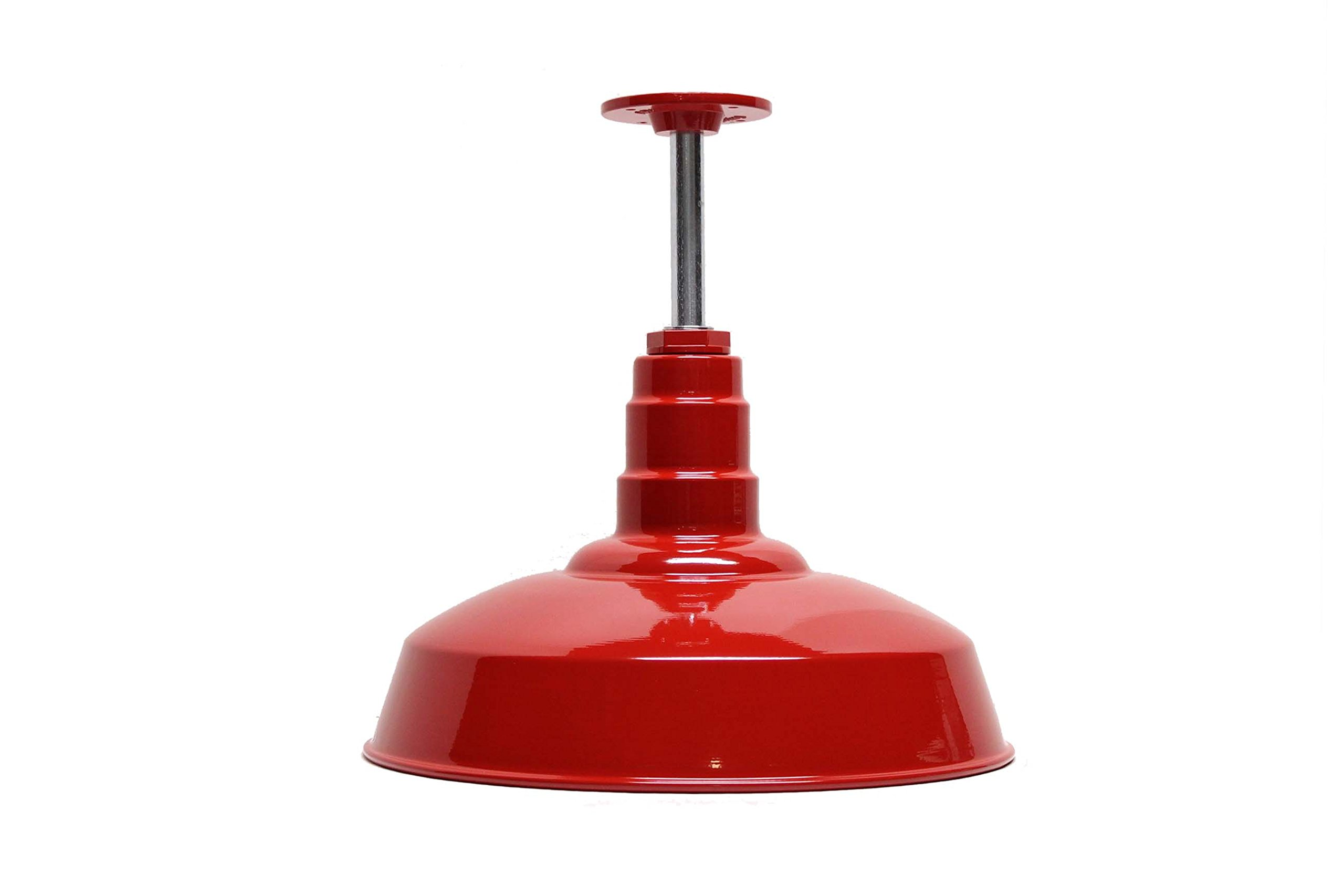 200 Watt Red Standard Rigid Pendant | Pendant Shade | 16'' Dome 12'' Stem | Includes Ceiling Mounting Plate | Made in America Powder Coated Steel