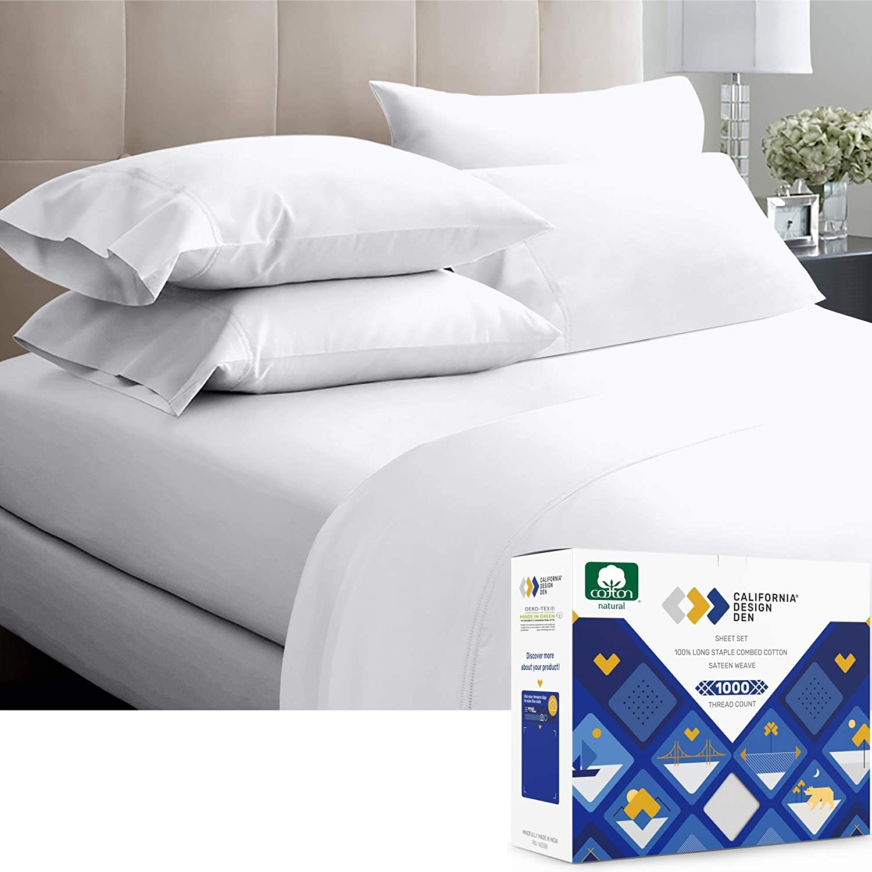 Luxury 4 PCs Sheet Set White Solid 100/% Cotton 1000-TC Extra Deep Pocket