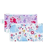 Bumkins Disney Baby Reusable Snack Bag Small 2 Pack, Princess (Ariel/Cinderella)
