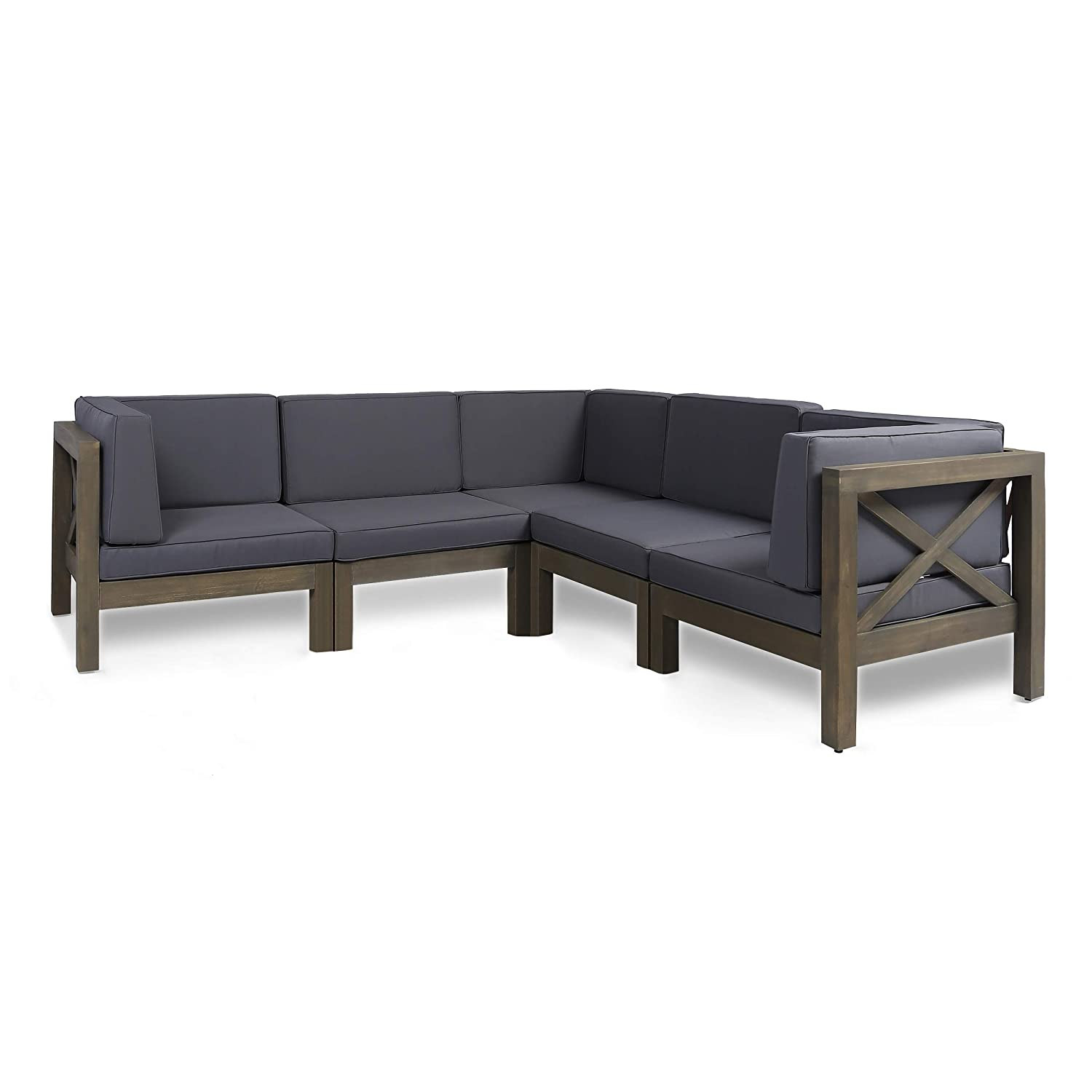 Great Deal Furniture Keith Outdoor Sectional Sofa Set | 5-Piece 5-Seater | Acacia Wood | Water-Resistant Cushions | Gray and Dark Gray