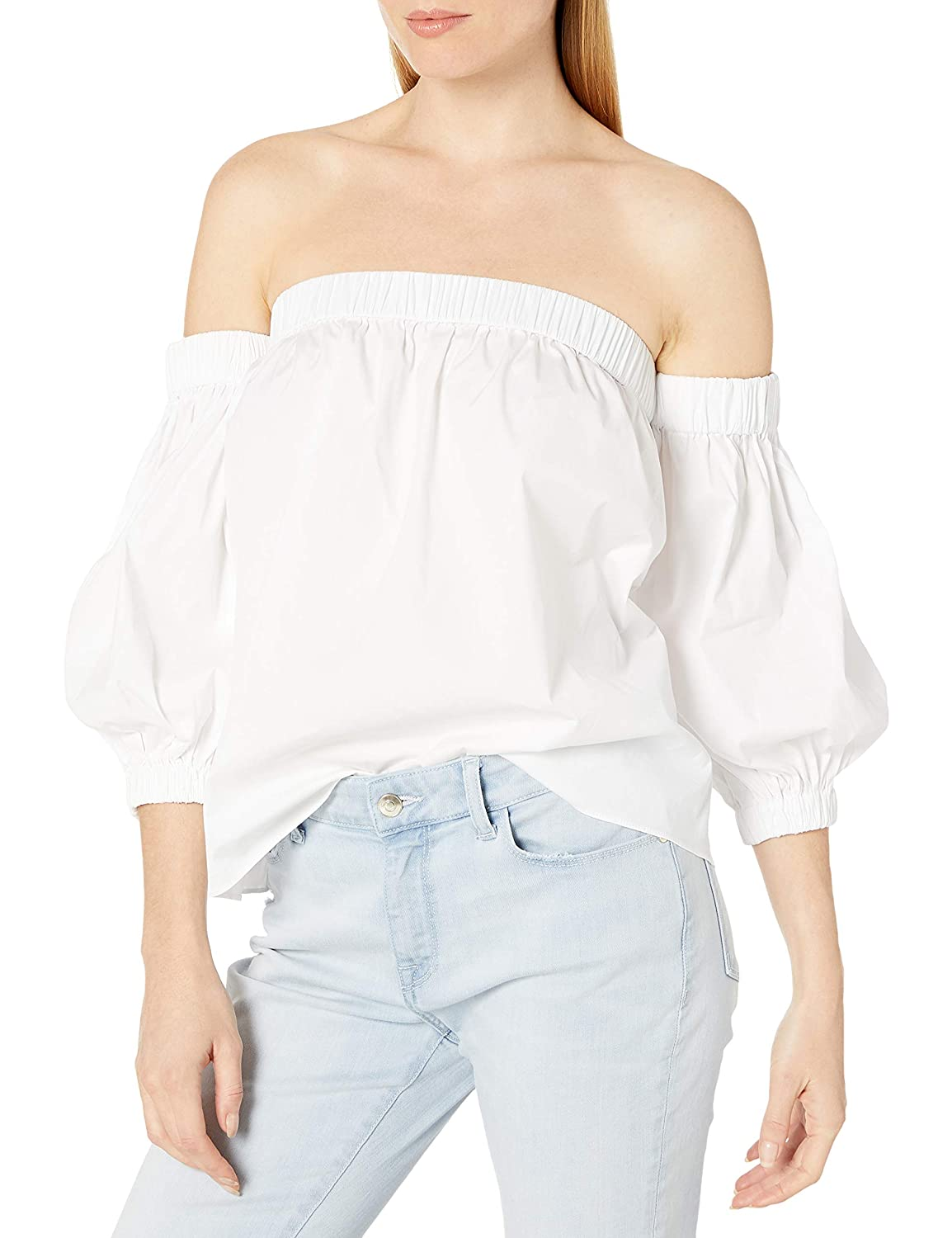 MILLY Womens Cotton Poplin Off The Shoulder Blouse