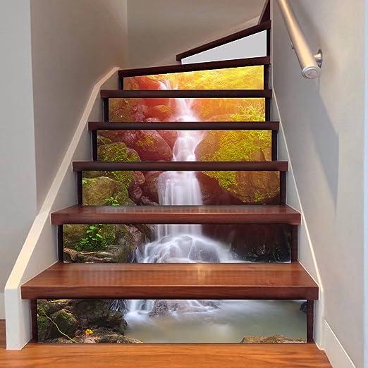 Frolahouse - Adhesivo decorativo para escaleras en 3D, diseño de cascada y bosque, para renovación de escaleras, azulejos, vinilo, impermeables, 6 unidades: Amazon.es: Hogar