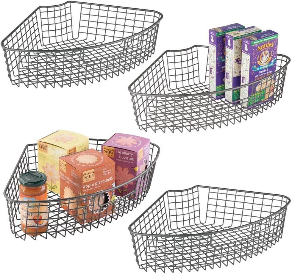 mDesign Farmhouse Metal Kitchen Cabinet Lazy Susan Storage Organizer Basket with Front Handle - Medium Pie-Shaped 1/4 Wedge, Container, 4 Pack - Graphite Gray