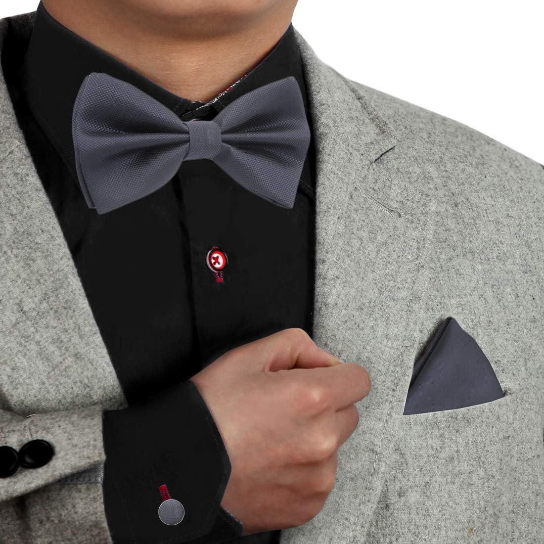 Dan Smith C.C.O.M.007 Black Bow Ties Trendy Microfiber Pre-tied Bow Tie Cufflinks Hanky Set