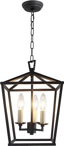 Cage Pendant Light Lantern Iron Art Design 3-Heads Candle-Style Chandelier Ceiling Light Fixture for Hallway Kitchen Dinning Room Bar Restaurant W 10 X H 14 Black