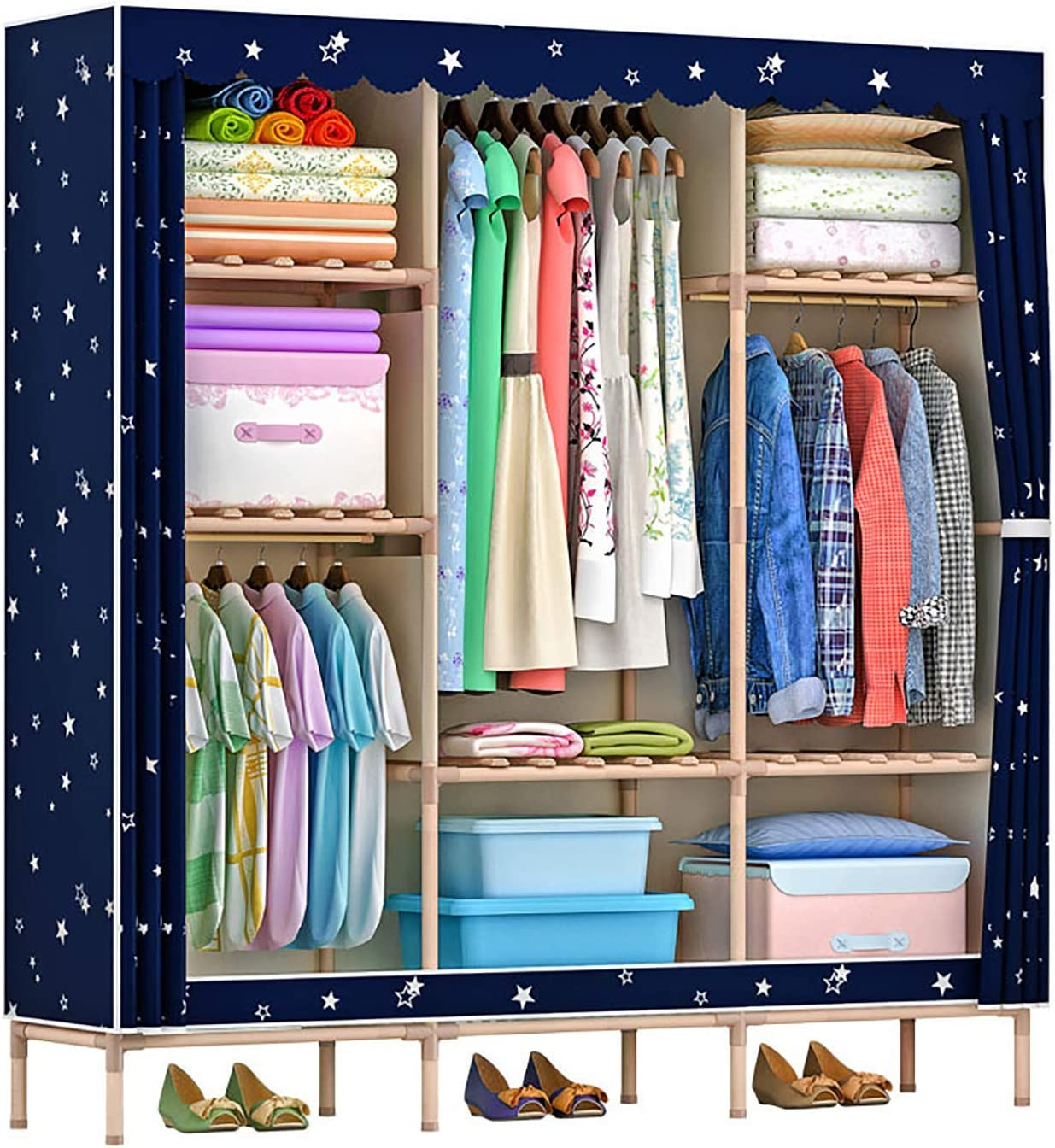 Amazon Com Bedroom Cloth Wardrobe Clothes Storage Closet Solid Wood Frame Hanging Clothes Organizer With Cover Extra Strong And Durable Clothes Closet Starry Sky 51x68 Inch Home Kitchen