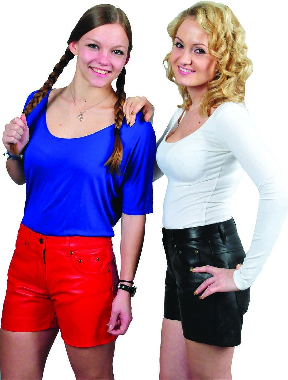 Damen Lederhose kurz- Echt Leder Anline Glattleder Lederhose kurz, Damen Leder Shorts Schwarz, Rot