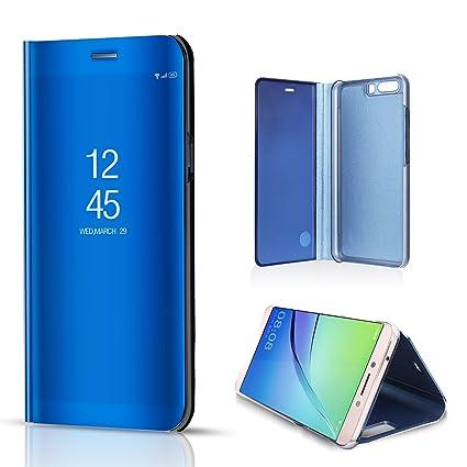 38f3fe64e1e Cover Huawei P10 Flip Book, BZCTAH Electroplate Hard PC Plastic Inner  Transparent View Standing Case