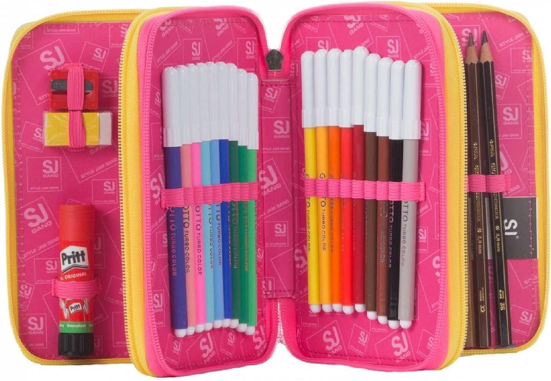 Mochila extensible SJ de niña con Flip System + estuche con 3 compartimentos + diario + 30 bolígrafos: Amazon.es: Deportes y aire libre