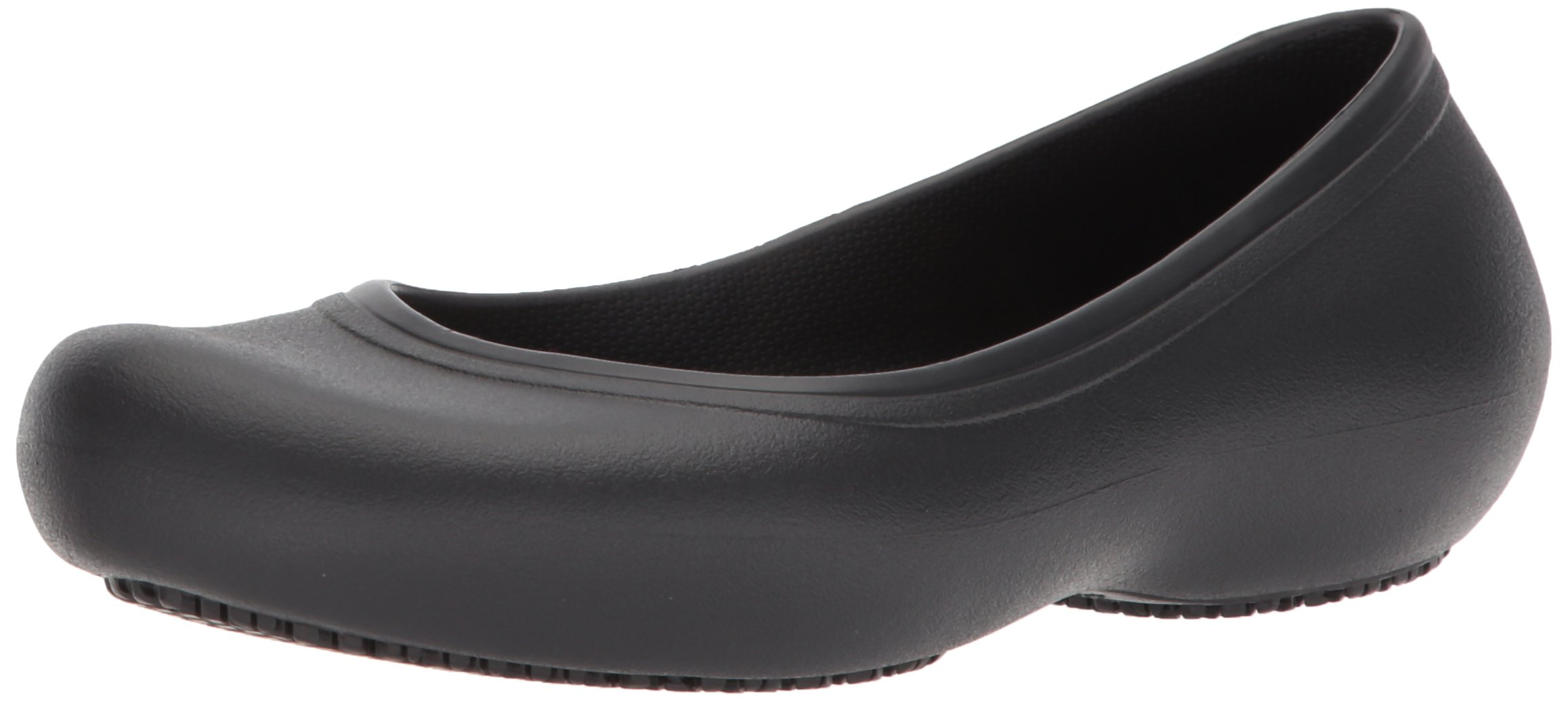 Crocs Women's Work Flat Food Service Shoe, Black, 8 M US