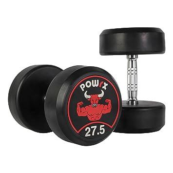 POWRX Mancuernas con Revestimiento de Goma 55 kg Set (2 x 27,5 kg): Amazon.es: Deportes y aire libre