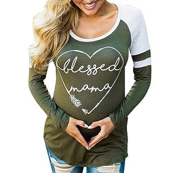 VJGOAL Moda Casual de Las Mujeres Agraciado Turquía Impreso Camisa de Manga Larga Blusa Camiseta Superior(XL, Verde): Amazon.es: Ropa y accesorios