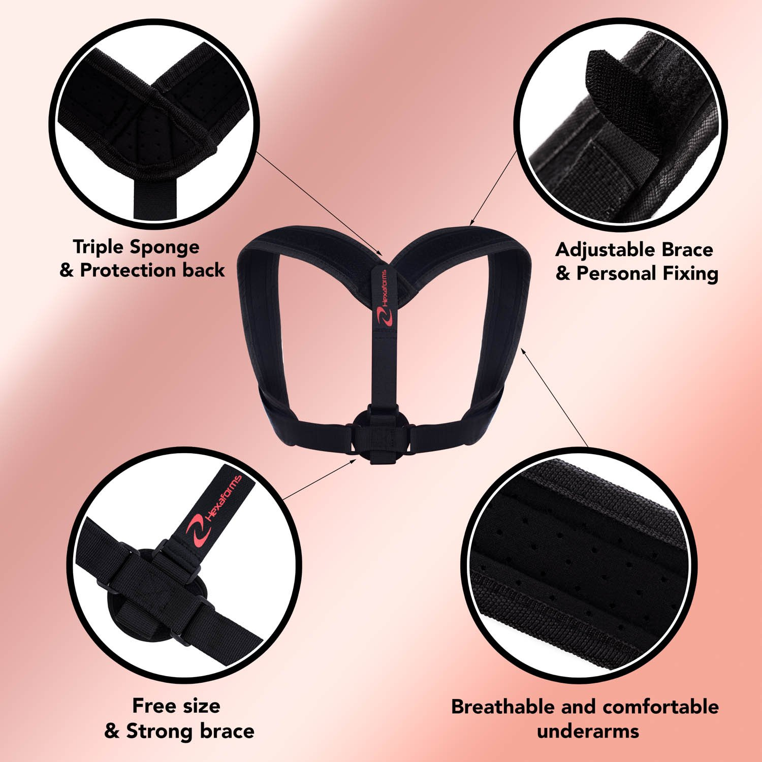 Hexaforms Back Posture Corrector for Women & Men - Effective and Comfortable Posture Brace for Slouching and Hunching - Clavicle Support for Upper Back & Shoulder Pain Relief - Medical Problems by Hexaforms (Image #8)