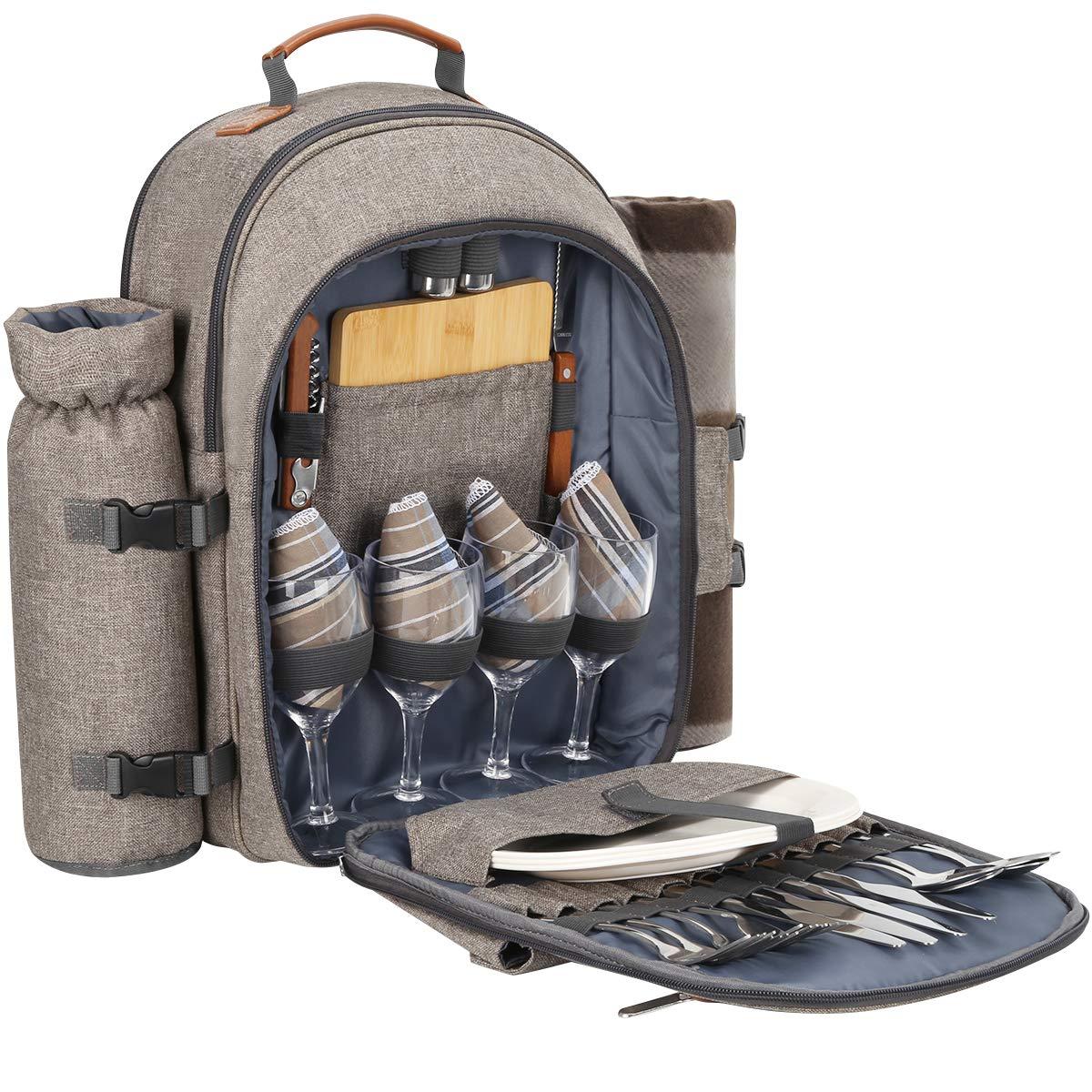 *Sunflora Picknickrucksack 4 Personen Picknickset mit Isoliertem Kühlfach und Decke für Camping Outdoor*