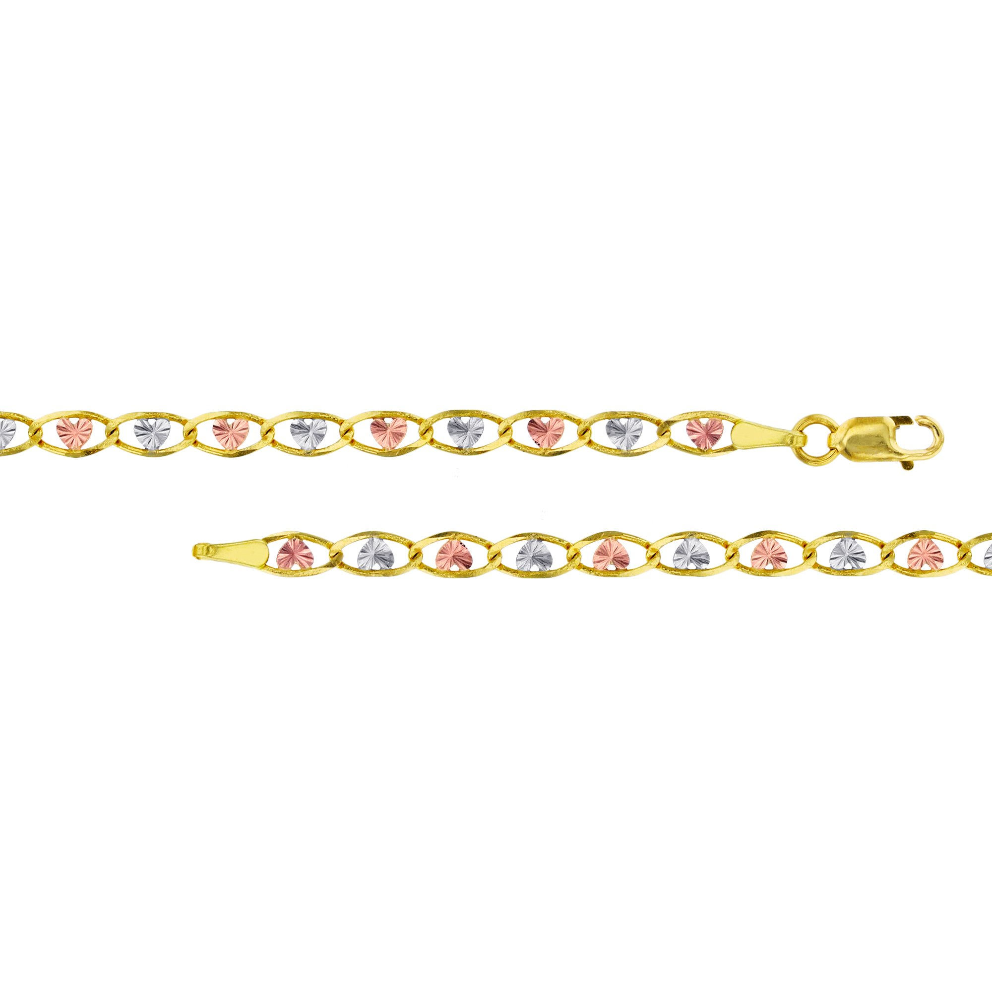 14K Gold Tri-Color 3.50mm 10'' Heart-Love Valentino 060 Bracelet