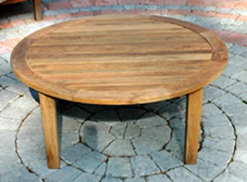 36u0026quot; Natural Teak Round Outdoor Patio Wooden Coffee Table