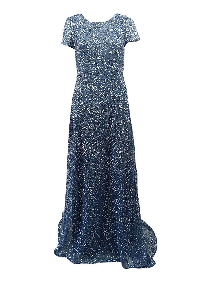 Adrianna Papell Women's Short-Sleeve All Over Sequin Gown Adrianna Papell Evening Child Code 91874600